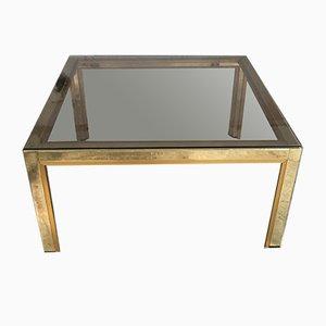 Mesa de centro italiana con tablero de vidrio ahumado, años 70
