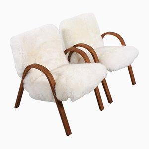 Mid-Century Stühle aus Bugholz mit Schafsfell von Steiner, 1948, 2er Set