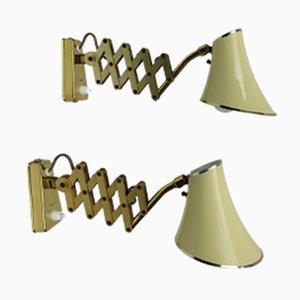Lampes Scissor Mid-Century en Aluminium et Laiton, 1950s, Set de 2
