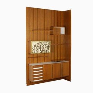 Mueble de pared de teca, formica y latón con panel serigrafiado, años 60