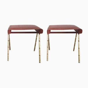 Vintage Stool by Jacques Adnet, Set of 2
