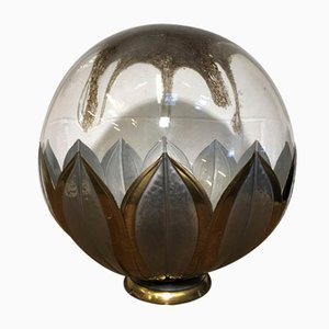 Vintage Italian Spherical Glass and Metal Flower Table Lamp