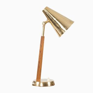 Teak and Brass Desk Lamp from Falkenbergs Belysning