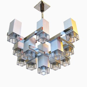 Cubic Chandelier in Brushed Steel by Gaetano Sciolari, 1970s