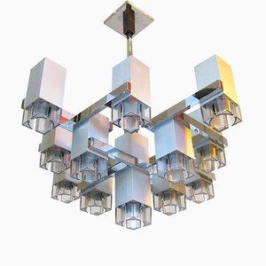 Lustre Cubique en Acier Brossé par Gaetano Sciolari, 1970s
