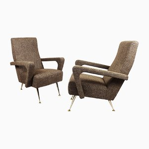 Mid-Century Beige Linen and Aluminum Armchairs, 1950s, Set of 2