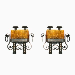 Brutalist Wall Lamps, 1960s, Set of 2