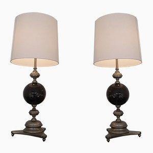 Lampes de Bureau Mid-Century Noires en Laiton Argenté de Maison Jansen, 1960s, Set de 2