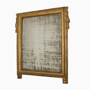 Espejo francés antiguo Imperio bañado en oro con vidrio de espejo original