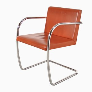 BNRO Chair in Cognac Leather and Chrome by Ludwig Mies van der Rohe for Knoll, 1970s