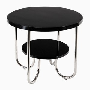 Vintage Round Two Tiered Chrome Table by Robert Slezák Company