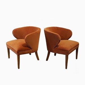 Skandinavische Pfirsichfarbene Mid-Century Sessel aus Samt, 1960er, 2er Set
