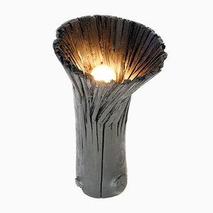 Schwarze Tischlampe aus Gepresstem Holz von Johannes Hemann