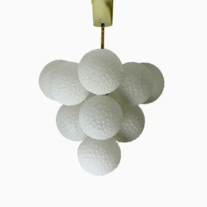 Lustre Snowball en Verre & Métal Blanc, 1960s