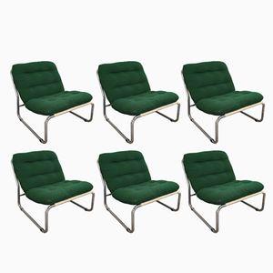 Italienische Sessel aus Chrom & Stoff, 1970er, 6er Set