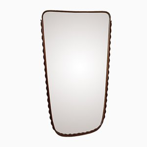 Italian Curved Cherry Wall Mirror by Osvaldo Borsani, 1950s