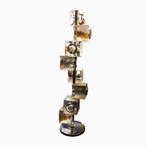 Lámpara de pie vintage cúbica de Mazzega
