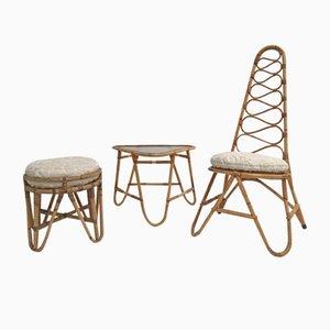Rattan Hocker, Tisch & Stuhl mit Kunstfell Kissen von Rohé Noordwolde, 1950er