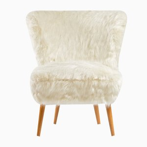 Mid-Century White Faux Fur Cocktail Chair