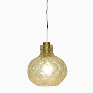 Vintage Thick Glass Pendant Light by Glashütte Limburg, 1960s
