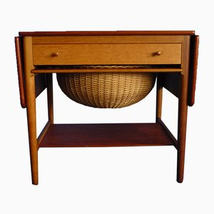 Table de Couture AT-33 en Teck & Chêne par Hans J. Wegner pour Andreas Tuck, 1950s