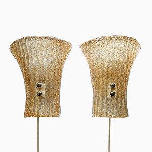 Apliques modernistas de cristal de Murano, años 60. Juego de 2
