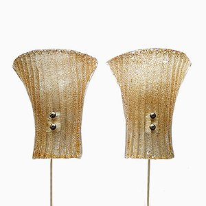 Applique da parete modernista in vetro di Murano, anni '60 set di 2