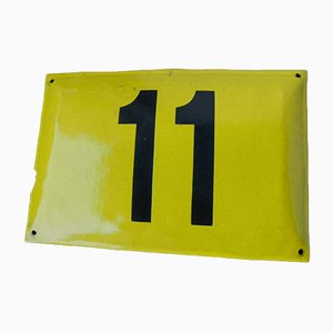 Vintage Enameled Metal Sign Number 11