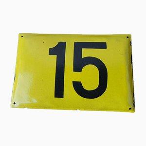 Cartel vintage de metal esmaltado con el número 15