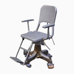 Dentist's Chair on Wheels in Cast Aluminum, 1900s