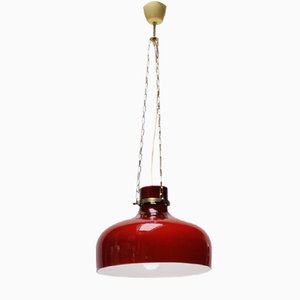 Vintage Red Pendant Light from Holmegaard