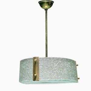 Lámpara colgante francesa vintage de vidrio moldeado