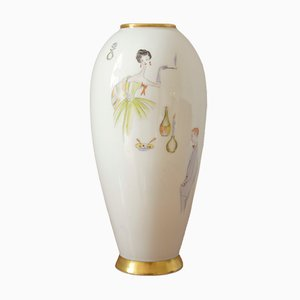 Model Cocktail Porcelain Vase by Lindner Handgemalt, 1950s