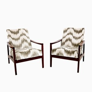 Italian Armchairs with Patterned Fabric, 1950s, Set of 2