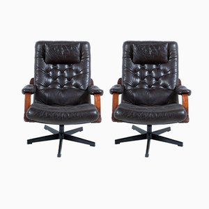 Italian Black Leather Swivel Armchairs, 1960s, Set of 2