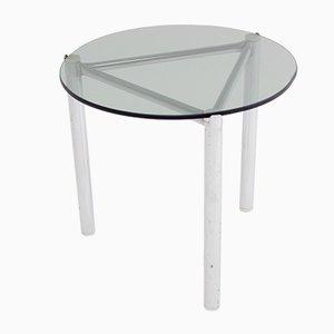 Mesa auxiliar con estructura de metal cromado y tablero de vidrio, años 60