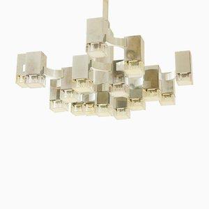 Lámpara de araña italiana vintage con 17 luces cúbicas de Gaetano Sciolari