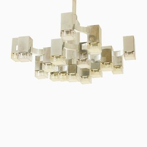 Vintage Italian Cubic 17-Light Chandelier by Gaetano Sciolari