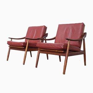 Vintage Leder & Teak Sessel von Kurt Ostervig für Jason Møbler, 2er Set