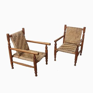 French Woven Easy Chairs, 1950s, Set of 2