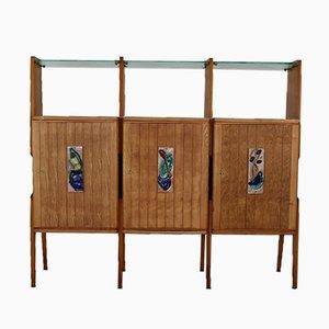 Mueble de pared italiano con estantes de vidrio, años 50