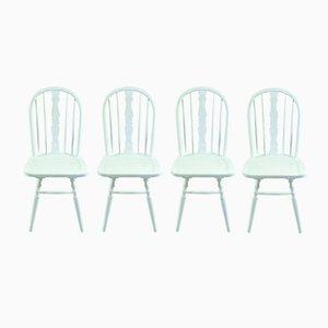Chaises Windsor en Hêtre Blanches, Set de 4