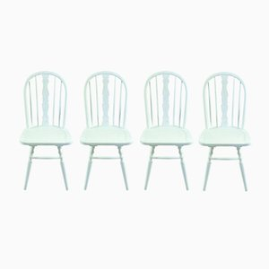 White Beech Windsor Chairs, Set of 4