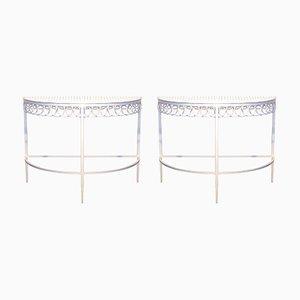 Mesas vintage con forma de media luna de Mathieu Matégot. Juego de 2