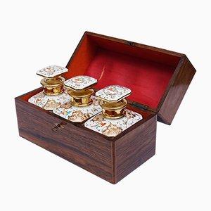 Boîtes à Thé Antiques en Porcelaine de Paris Peinte à la Main dans une Boîte en Bois,19ème Siècle