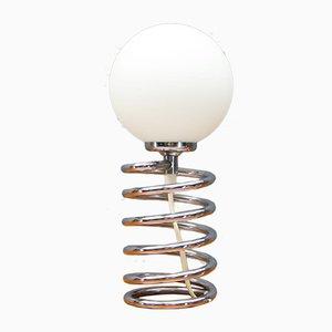 Lámpara de mesa cromada en espiral, años 70