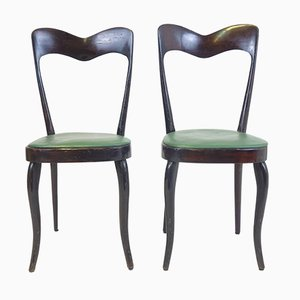 Italian Green Leatherette Chairs, 1950s, Set of 2