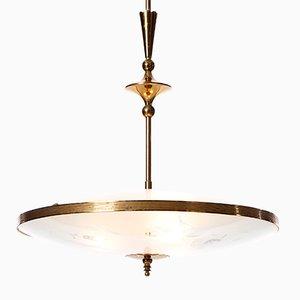 Lámpara colgante con tres luces de vidrio y latón, años 40