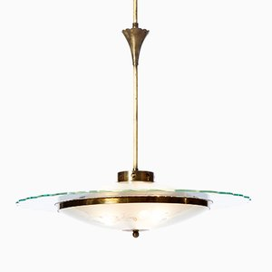 Lámpara de araña con tres luces de vidrio texturizado y latón, años 40