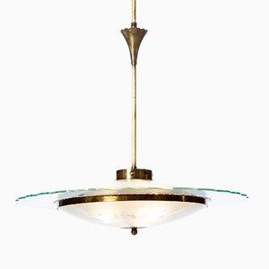 Lustre à Trois Lampes en Verre Texturé et Laiton, 1940s